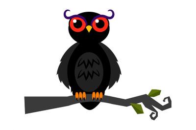 Halloween spooky owl on dark forest branch vector