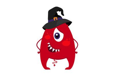 Halloween monster in witch hat vector