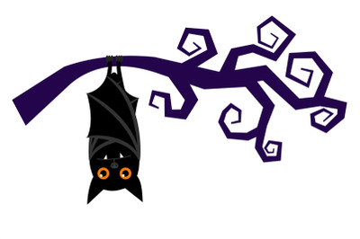 Cartoon halloween bat hanging on tree branch vector