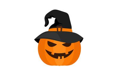 Halloween pumpkin with witch hat vector