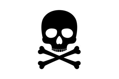 Crossbones skull death vector silhouette icon