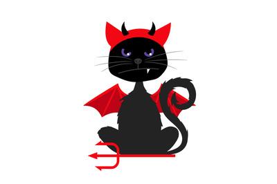 Halloween cat with devil bat wings