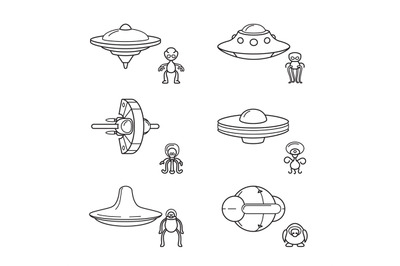 Thin line aliens with spaceships icons