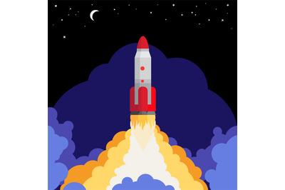 Space rocket launch illustration