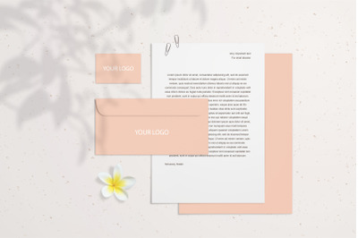 Summer blank branding mockup with coral business card