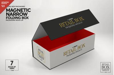 Magnetic Narrow Folding Retail Box Packaging Mockup