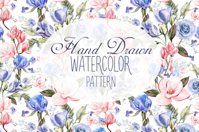 7 Hand Drawn Watercolor PATTERNS