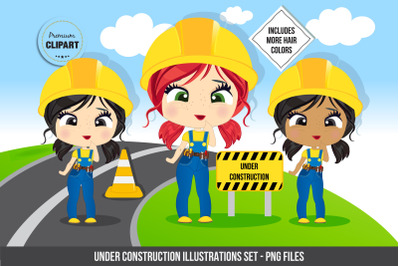 Construction girl graphics, Construction illustrations