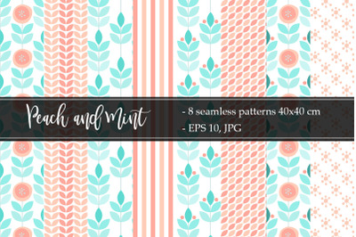 Peach and Mint Color Vector patterns