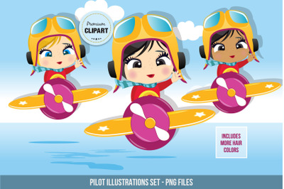 Little pilot graphics, Pilot girl illustrations