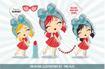 Pin up girl clipart, Retro illustrations