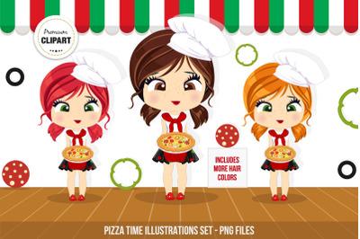 Pizza girl clipart, Pizza illustrations