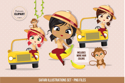 Safari clipart, Travel illustrations