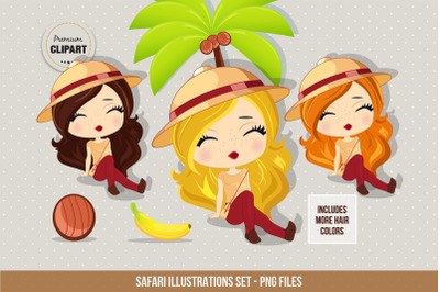 Travel clipart, Safari girl illustrations