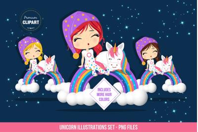 Unicorn graphics, Girl and unicorn illustrations
