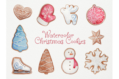 Watercolor Christmas Cookies. Watercolor Illustration
