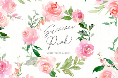 Romantic Watercolor Pink Flowers Wreaths Bouquet PNG