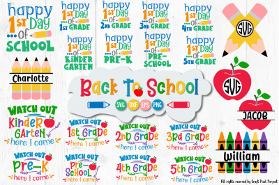 Back To School Svg Bundle, 1st Day of School Cut Files