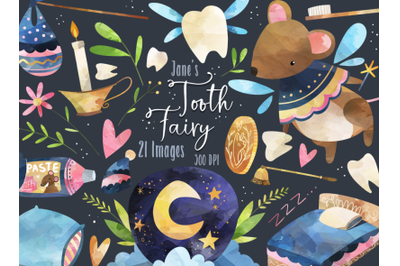 Watercolor Tooth Fairy Clipart