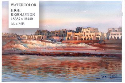 Landscape watercolour painting