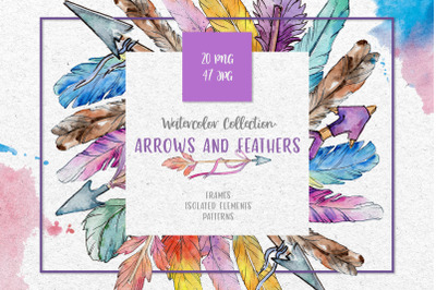 Arrows and Feathers Watercolor png