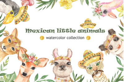 Mexican little animals and plants. Watercolor clipart