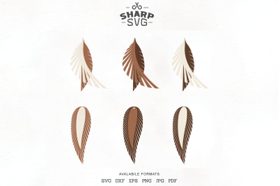 Feather Earring SVG - Stacked Leather Earrings SVG