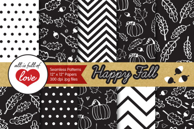 Black and White Autumn Digital Papers Fall Background Patterns