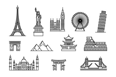 Famous buildings tourist places icon set.