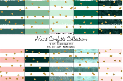 Mint Green Striped with Confetti Effect Digital Papers