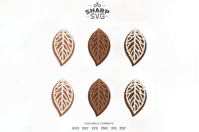 Leaf Stacked Earrings SVG Leather Earrings Cutting Templates
