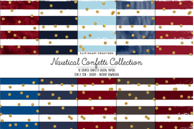 Nautical Confetti Collection with Gold Confetti Digital Papers