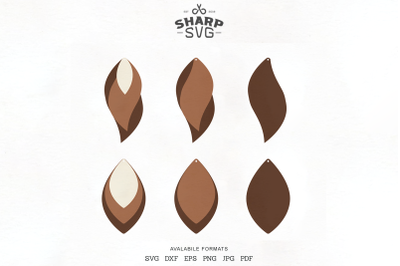 Stacked Earrings SVG - Leather Earrings Cutting Templates