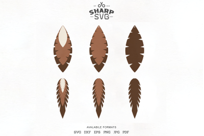 Feather Earrings SVG - Leather Earrings Cutting Templates