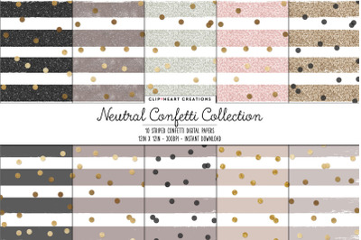 Neutral Confetti Collection Digital Papers