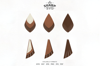 Fringe Earrings SVG - Leather Stacked Earrings Templates