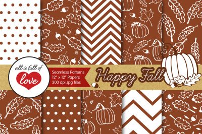 Brown Fall Foliage Digital Papers Autumn Background Patterns