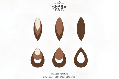 Stacked Earrings SVG - Teardrop Leather Earrings Template