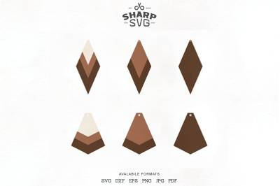 Stacked Earrings SVG - Geometric Leather Earrings Templates