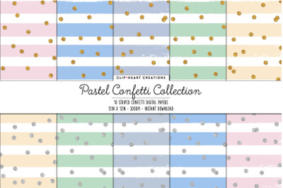 Pastel Confetti Collection Gold or Silver Confetti Digital Papers