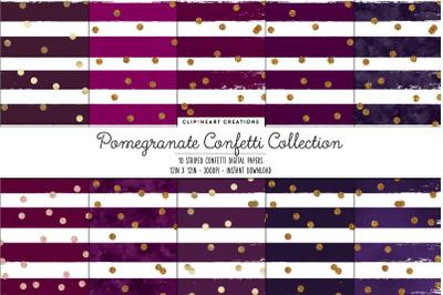 Pomengranate and Gold Confetti Digital Papers