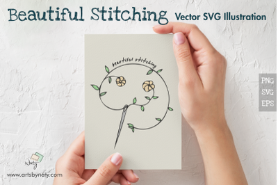 Beautiful Stitching Vector SVG Illustration.