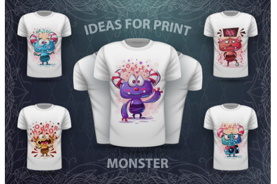 Set cute monsters for print t-shirt