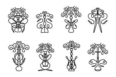 Hookah icon set