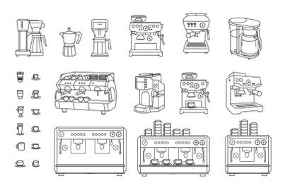 Coffee machine set on white background
