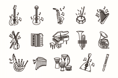 15 music instruments icon set on white background