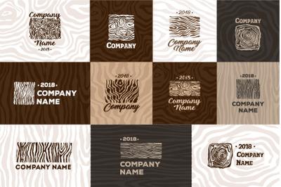 Wood and timber texture symbol logo.