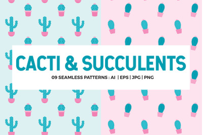 Cactus Seamless Patterns Collection