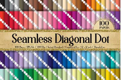 100 Seamless Minimalist Craft Diagonal White Polka Dot Papers