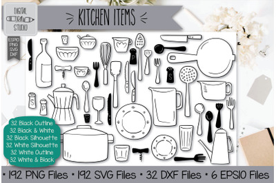 192 Kitchen Items Hand Drawn Illustrations Bundle